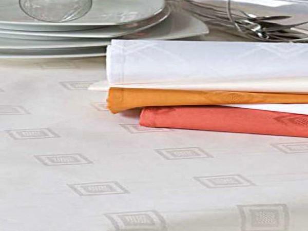 Damast-Tischdecke Milara, sekt, mit elegantem Muster, 140x340