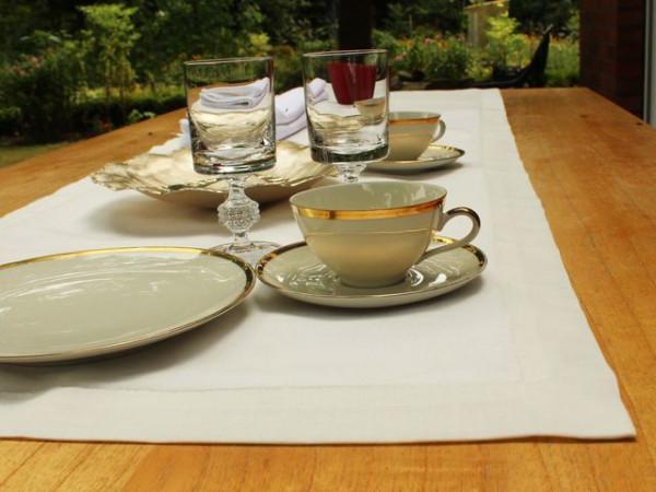 Leinen-Tischläufer, altweiß, mit Briefecke, 50x140