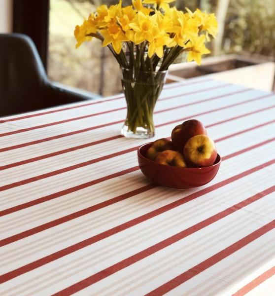 Jacquard-Tischdecke rot-beige gestreift, 150x250