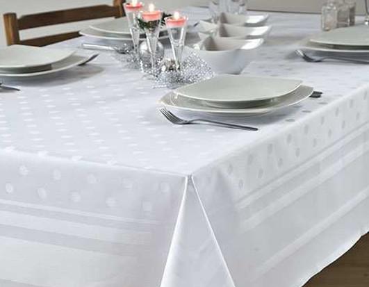 Damast-Tischdecke Amara, weiß, mit Atlaskante und Tupfen, 130x190