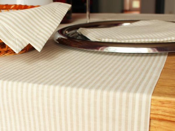 Leinen-Tischläufer, gestreift, 50x140