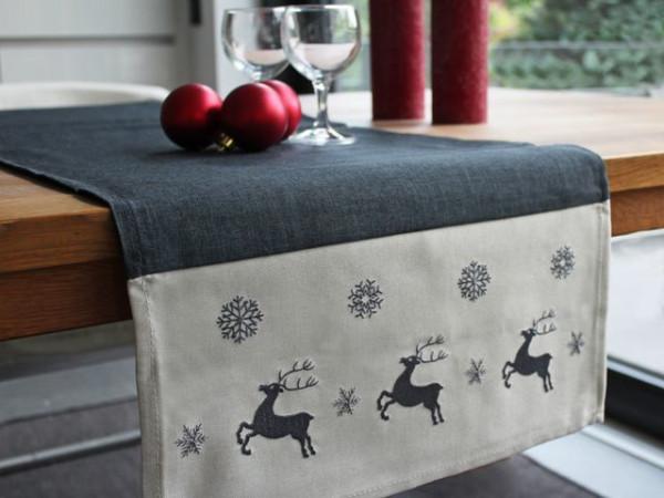 Weihnachtstischläufer Kurt, anthrazit, mit Elchen, 40x140