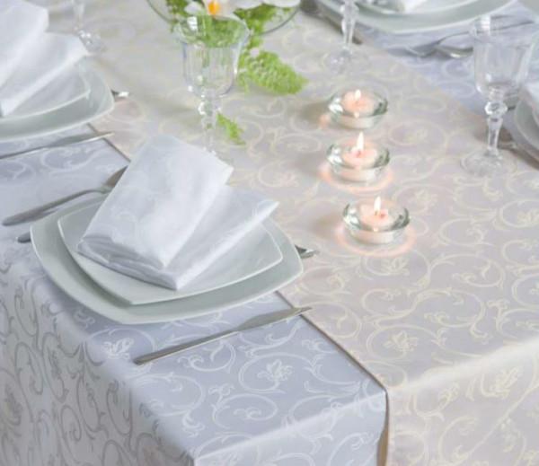 Damast-Tischdecke Sila, weiß, mit floralem Muster, 140x310