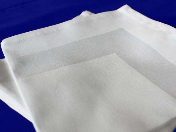 12 Stoffservietten, Padua, weiß, mit Atlaskante, 40x40 cm