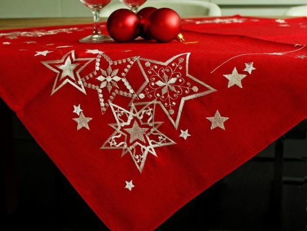 Weihnachtstischdecke Liam, rot, mit weißen Sternen, 85x85