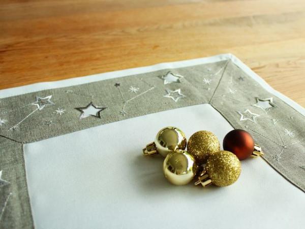 Weihnachtstischläufer Peter, hellgrau, mit Sternen, 40x140