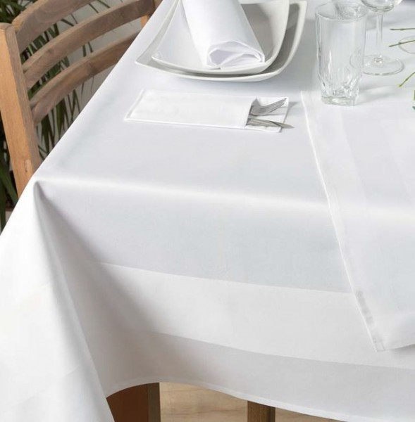 Tischdecke Padua, weiß, mit Atlaskante, 140x140