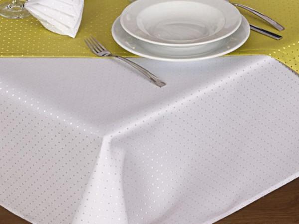 Tischdecke Malta, weiß, mit Punkten, 140x260