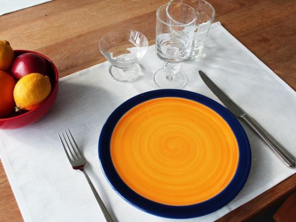8 Halbleinen-Tischsets / Platzsets, weiß, ohne Muster, 35x50
