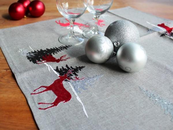 Weihnachtstischdecke Tischdecke Jonas, hellgrau, mit Stickerei, 60x60