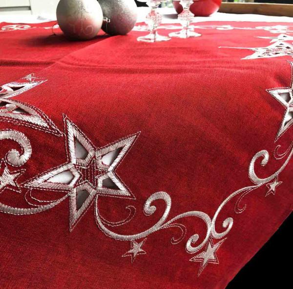 Weihnachtstischdecke Steffen, rot, mit Stickerei 85x85