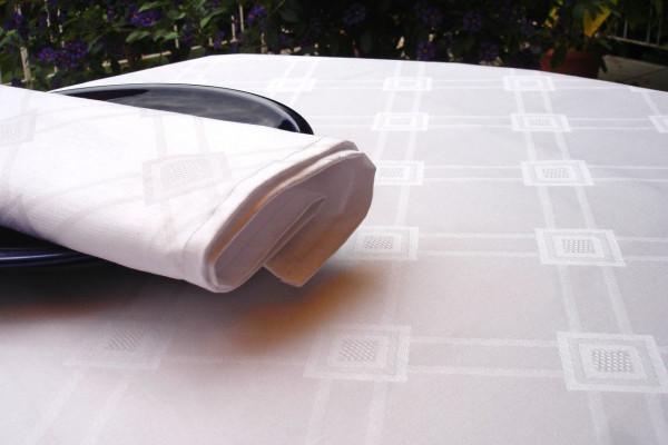 Damast-Tischdecke Milara, weiß, mit elegantem Muster, 140x260