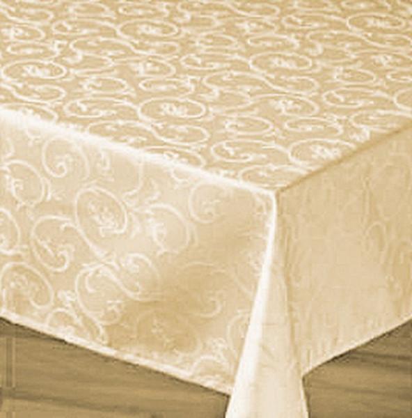 Damast-Tischdecke Sila, champagner, mit floralem Muster, 140x320