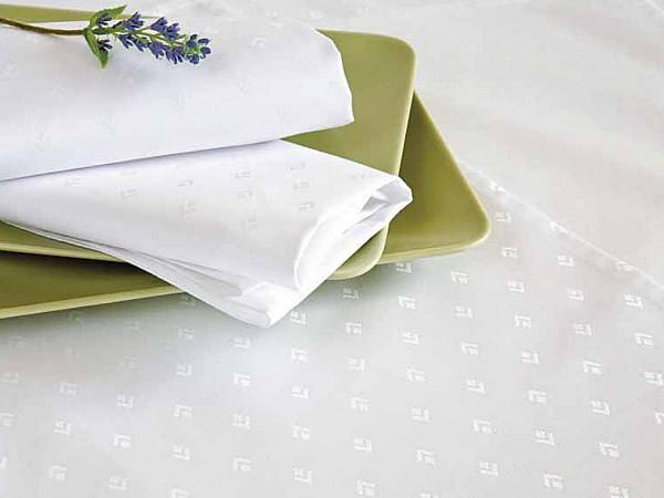 Damast-Tischdecke Leila, rund, weiß, mit modernem Muster, Ø 180
