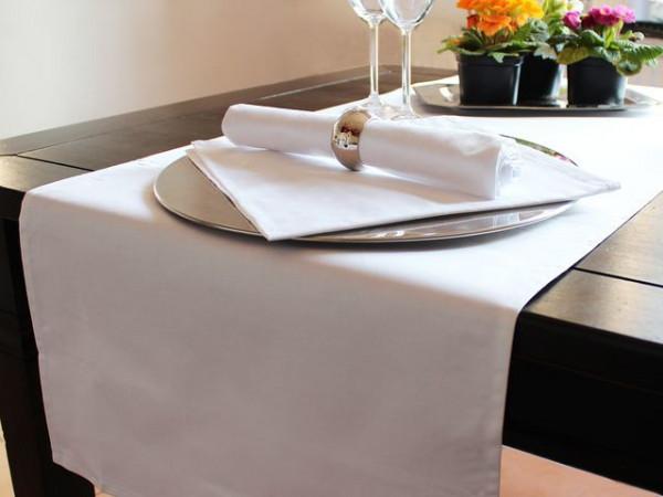 Tischläufer, weiß, ohne Muster, 40x130