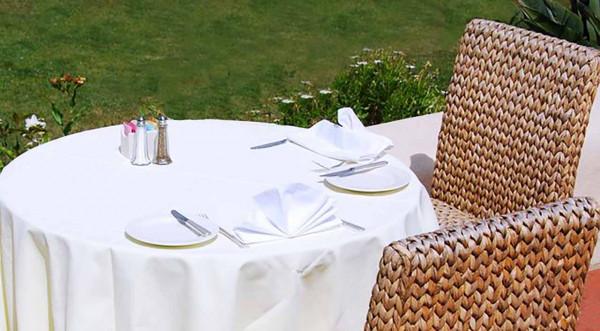Tischdecke Jatta, weiß, bügelfrei und fleckgeschützt, rund Ø 135